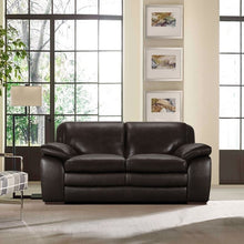 Load image into Gallery viewer, Zanna Contemporary Loveseat in Genuine Dark Brown Leather with Brown Wood Legs