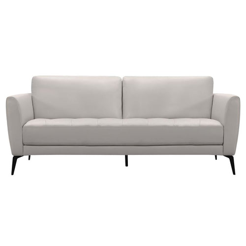 Hope Contemporary Sofa in Genuine Dove Grey Leather with Black Metal Legs