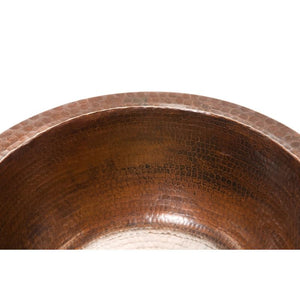"14"" Round Hammered Copper Bar/Prep Sink, ORB Bar Faucet, 3.5"" Strainer Drain"