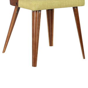 Storm Mid-Century Dining Chair in Walnut Wood and Green Fabric