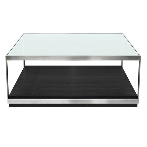 Manchester Contemporary Coffee Table with Polished Stainless Steel and Glass Top
