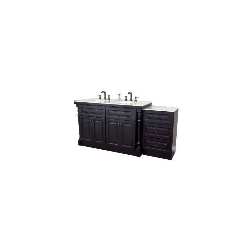 Bellaterra 74 In Double Sink Vanity Dark Mahogany