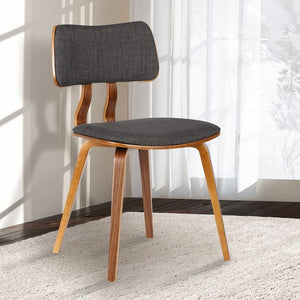 Jaguar Mid-Century Dining Chair in Walnut Wood and Charcoal Fabric
