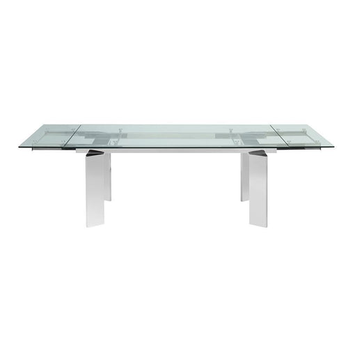 EUPHORIA Stainless Steel / Clear Glass Extendable Dining Table