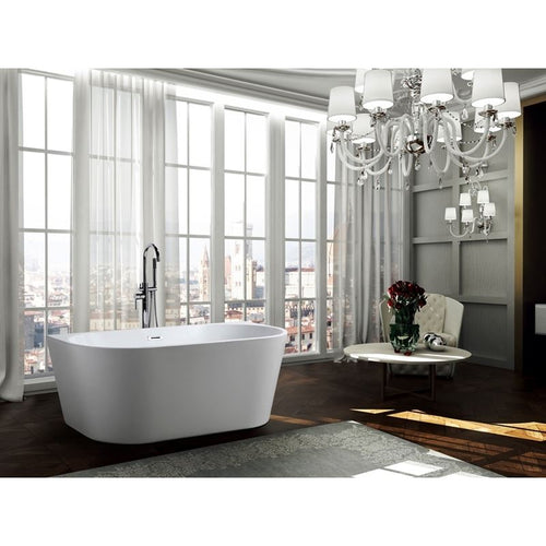 Calabria 59 inch Freestanding Bathtub in Glossy White