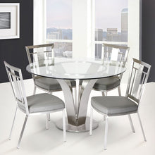 Load image into Gallery viewer, Cleo Contemporary Dining Chair In Gray and Stainless Steel - Set of 2