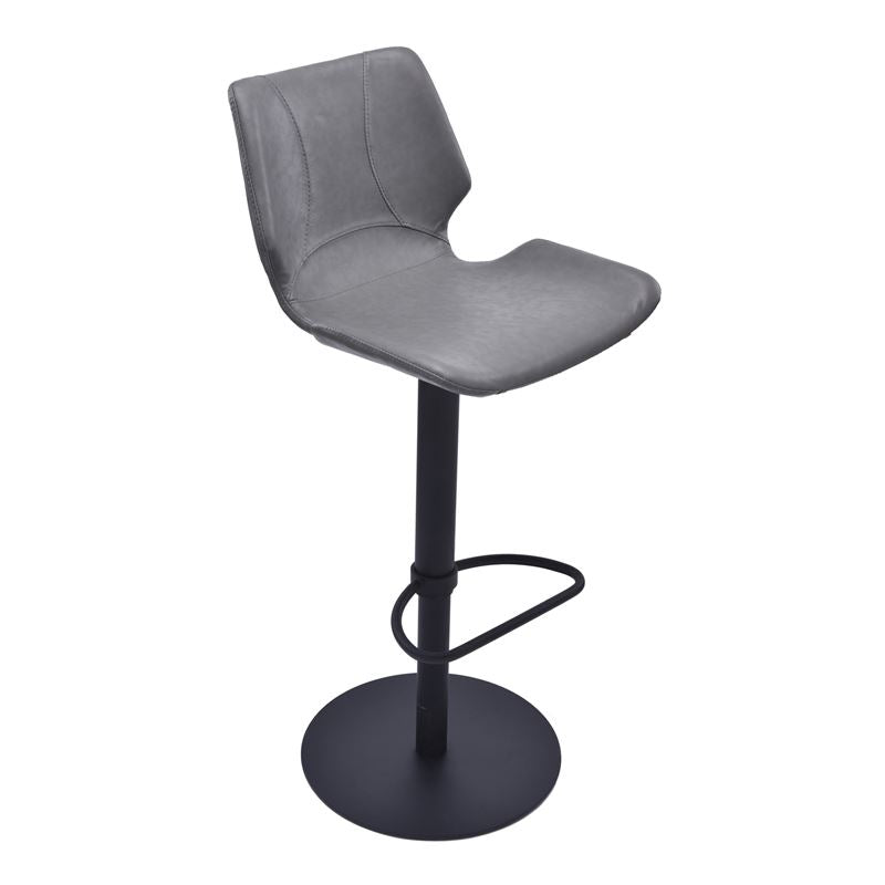 Zuma Adjustable Swivel Metal Barstool in Vintage Gray Pu and Black Metal Finish