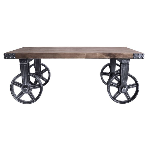 Trego Industrial Coffee Table in Industrial Grey and Pine Wood Top