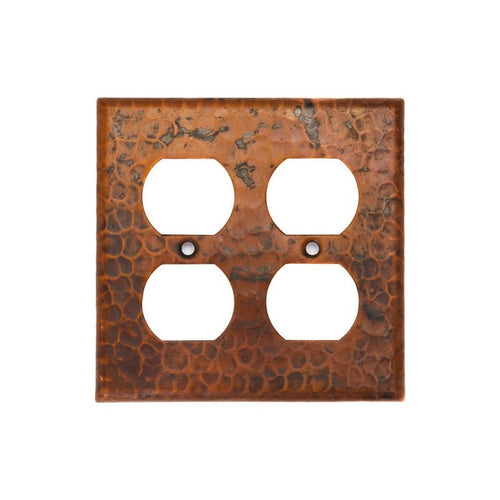 Copper Switchplate Double Duplex, 4 Hole Outlet Cover