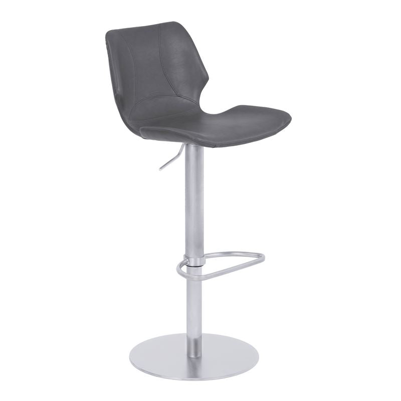 Zuma Adjustable Metal Barstool in Vintage Gray Faux Leather with Brushed Stainless Steel Finish