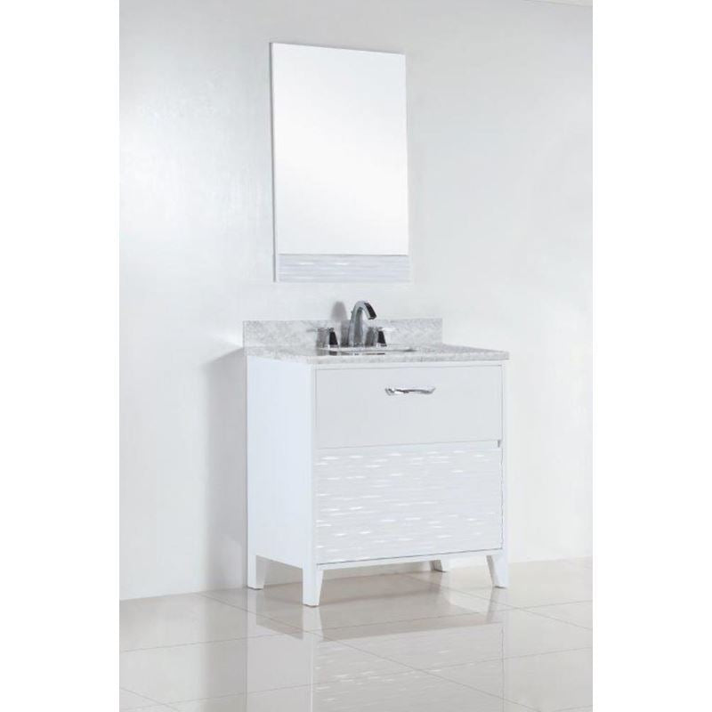 Bellaterra 30 In. Single Sink Vanity With White Carrara Top 500709-30-WC