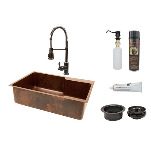 33  Hammered Copper Kitchen Single Basin Sink w ORB Pull Down Faucet  sc 1 st  LUXX Kitchen and Bath & Kitchen Sink Faucet Sets u2013 luxxkitchenandbath.com