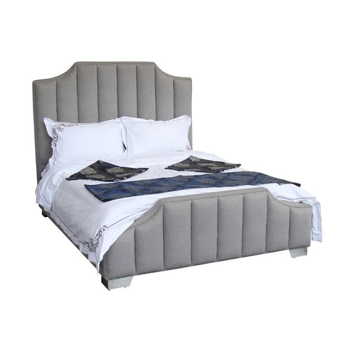 Camelot Contemporary Queen Bed with Polished Stainless Steel and Gray Sheepwool