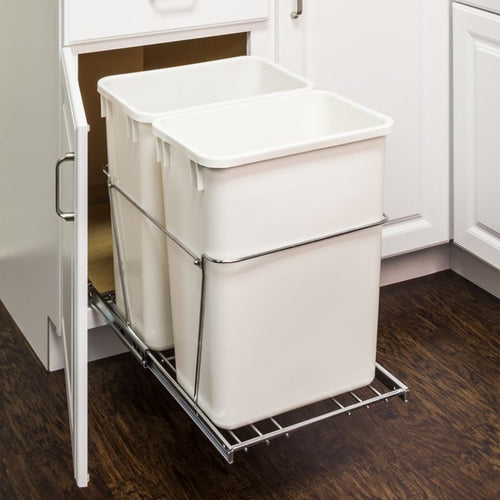 Polished Chrome 35-Quart Double Pullout Waste Container System