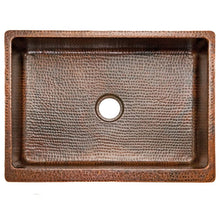 "Load image into Gallery viewer, 30"" Hammered Copper Kitchen Apron Single Basin Sink with Scroll Design"