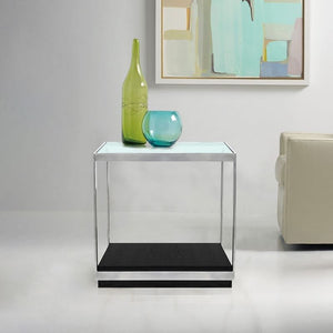 Manchester Contemporary End Table with Polished Stainless Steel and Glass Top