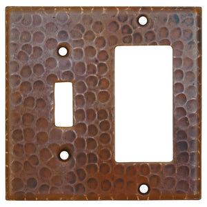Copper Combination Switchplate, 1 Hole Single Toggle Switch