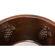 "Load image into Gallery viewer, 16"" Round Copper Bar/Prep Sink W/ Grapes, ORB Bar Faucet, 2"" Strainer Drain"