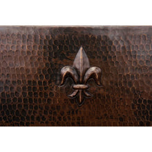 "Load image into Gallery viewer, 15"" Square Fleur De Lis Copper Bar/Prep Sink, ORB Bar Faucet, 2"" Strainer Drain"