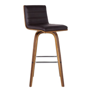 "Vienna 30"" Bar Height Barstool in Walnut Wood Finish with Brown Faux Leather"