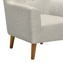 Load image into Gallery viewer, Hyland Mid-Century Accent Chair in Champagne Wood Finish and Beige Fabric