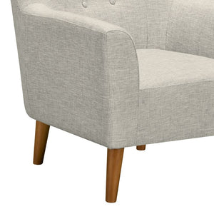 Hyland Mid-Century Accent Chair in Champagne Wood Finish and Beige Fabric