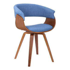 Summer Mid-Century Chair in Blue Fabric with Walnut Wood Finish
