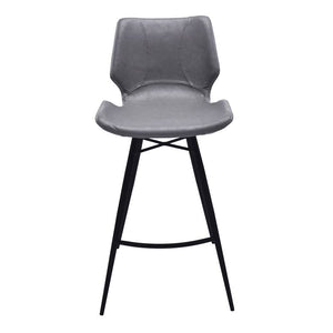 "Zurich 26"" Counter Height Metal Barstool in Vintage Gray Pu and Black Metal Finish"