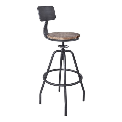 Perlo Industrial Adjustable Barstool in Industrial Grey and Pine Wood