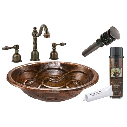 Oval Braid Self Rimming Hammered Copper Sink with ORB Widespread Faucet w Drain