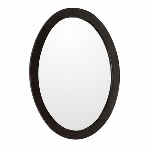 Bellaterra Oval Framed Mirror Manufactured Wood Sable Walnut
