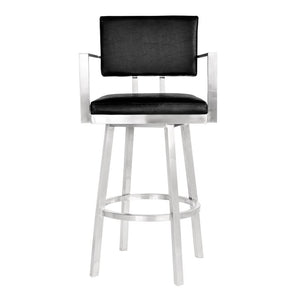 "Balboa 26"" Counter Height Barstool with Arms in Brushed Stainless Steel and Vintage Black Faux Leather"