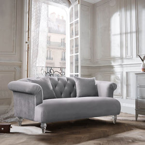 Elegance Contemporary Loveseat in Grey Velvet with Acrylic Legs