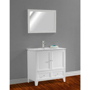 "Adornus Lombardi 30"" White Single Bathroom Vanity with mirror"