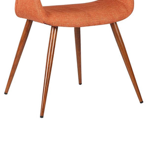 Phoebe Mid-Century Dining Chair in Walnut Finish and Orange Fabric