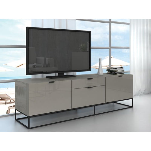 VIZZIONE High Gloss Light Gray Lacquer Entertainment Center by Casabianca Home