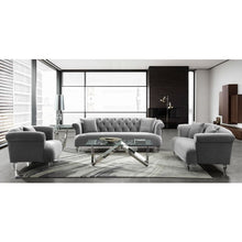 Load image into Gallery viewer, Elegance Contemporary Loveseat in Grey Velvet with Acrylic Legs