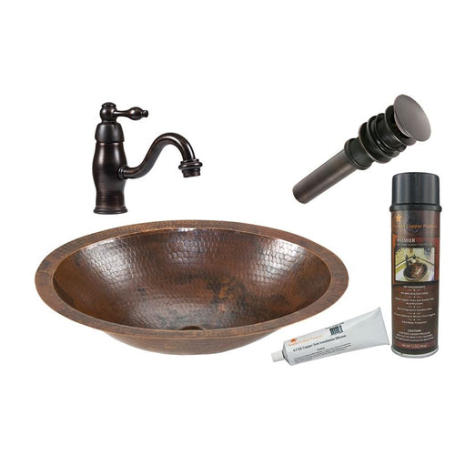 Small Oval Under Counter Hammered Copper Sink with ORB Faucet, Matching Drain