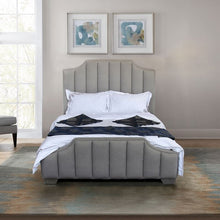 Load image into Gallery viewer, Camelot Contemporary Queen Bed with Polished Stainless Steel and Gray Sheepwool