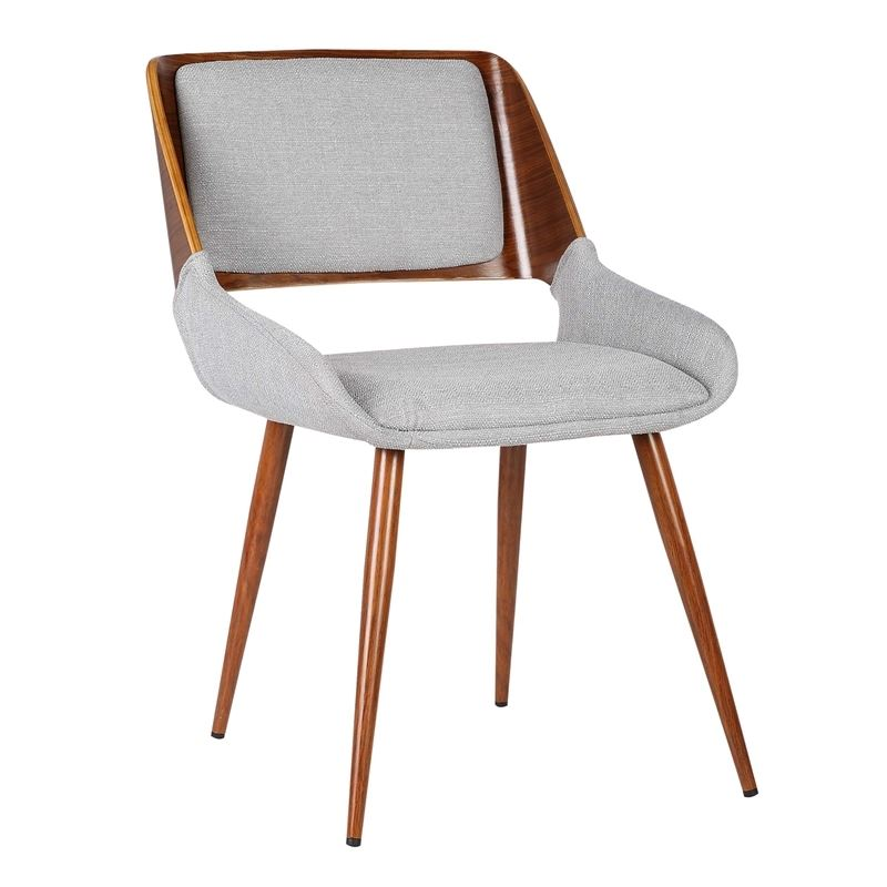 Panda Mid-Century Dining Chair Walnut Finish and Gray Fabric