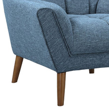 Load image into Gallery viewer, Cobra Mid-Century Modern Chair in Blue Linen and Walnut Legs