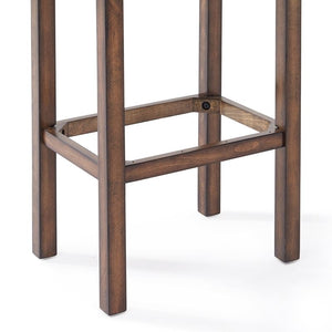 "Tudor 30"" Bar Height Wood Backless Barstool in Chestnut Finish and Kahlua Faux Leather"