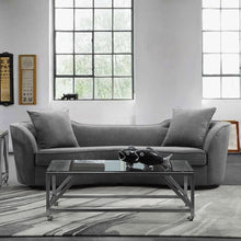 Load image into Gallery viewer, Palisade Contemporary Sofa in Grey Velvet with Brown Wood Legs