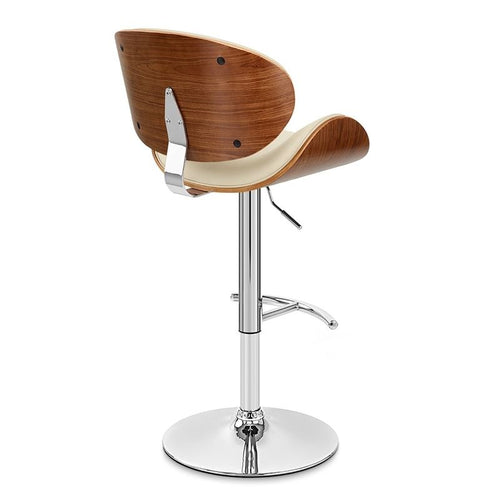 Naples Swivel Barstool in Chrome finish with Cream Faux Leather and Walnut Veneer Back