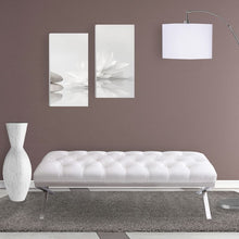 Load image into Gallery viewer, Milo Bench in Brushed Stainless Steel finish with White PU
