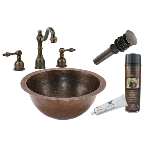 Under Counter Hammered Copper Sink with ORB Widespread Faucet, Matching Drain