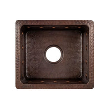 "Load image into Gallery viewer, 16"" Rectangular Hammered Copper Bar/Prep Sink w ORB Bar Faucet, Strainer Drain"