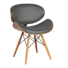 Load image into Gallery viewer, Cassie Mid-Century Dining Chair in Walnut Wood and Gray Faux Leather