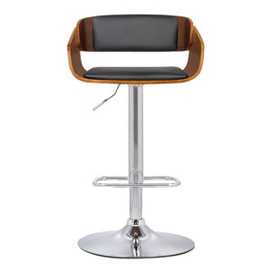 Jenny Mid-Century Adjustable Swivel Barstool in Chrome finish with Black Faux Leather and Walnut Wood