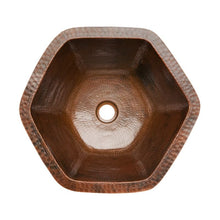 Load image into Gallery viewer, Hexagon Under Counter Hammered Copper Sink